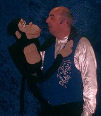 Performer David Bouet ( France) with Chimpanzee.